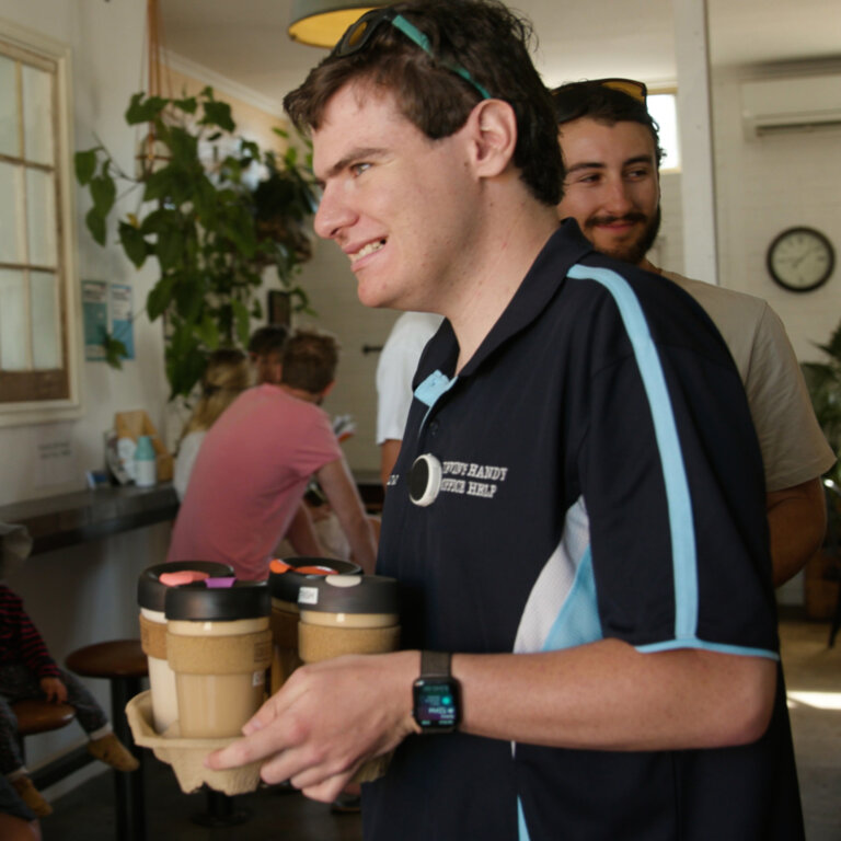 Dvein doing one of his coffee deliveries